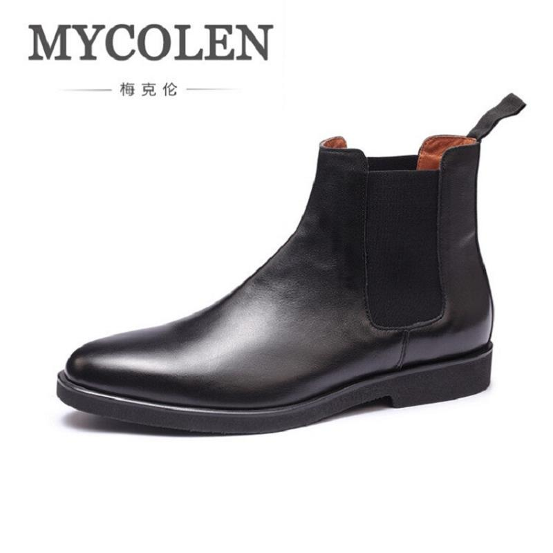 MYCOLEN Fashion Men Autumn Winter Genuine Leather Boots Man Retro Flat Heel Ankle Shoes Black Mens Shoes laarzen dames farvarwo formal retro buckle chelsea boots mens genuine leather flat round toe ankle slip on boot black kanye west winter shoes