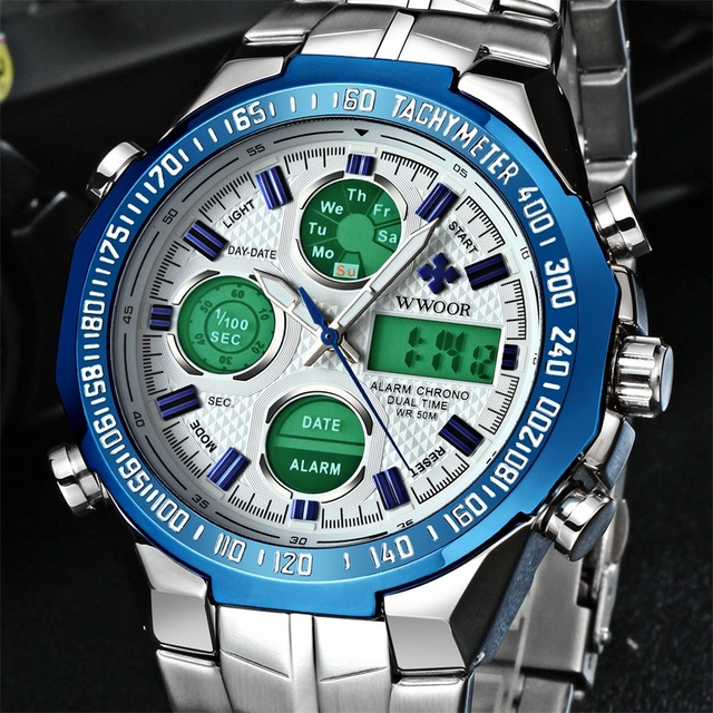 WWOOR Dual Display Man Watch Chronograph Alarm Waterproof Blue LED Watch Men Sports Quartz Wrist Watch Calendar Week Male Clock