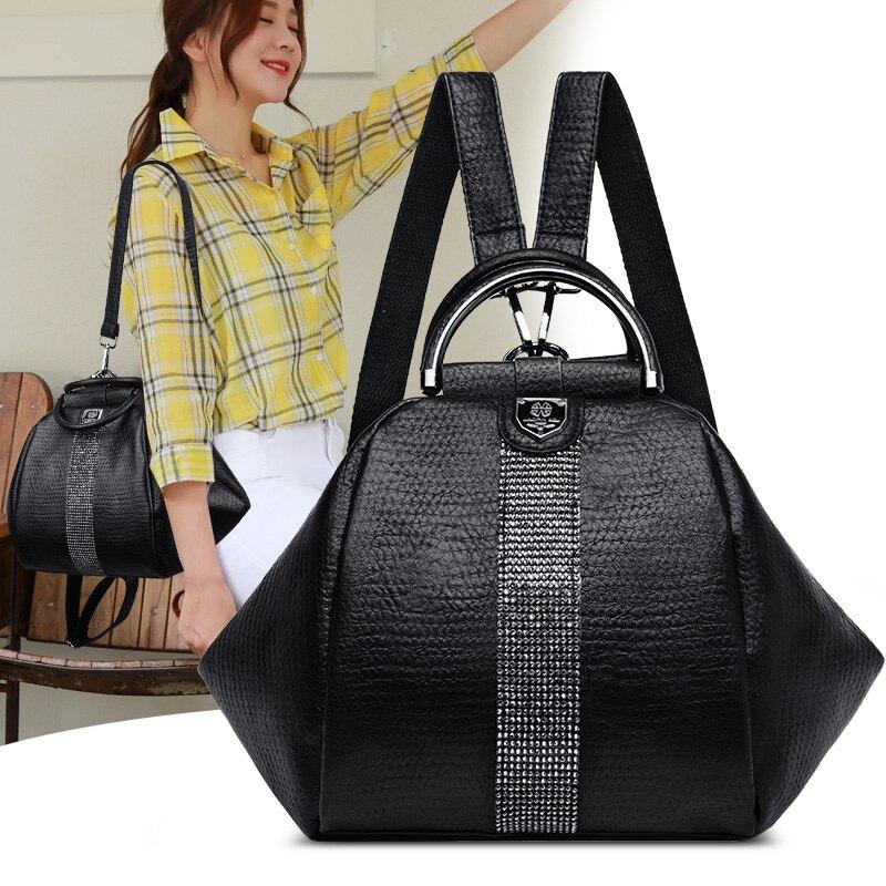 Mode femmes sac à dos en cuir souple sac à bandoulière femmes voyage sac à dos petits sacs d'école pour les adolescentes Anti-vol sac à dos