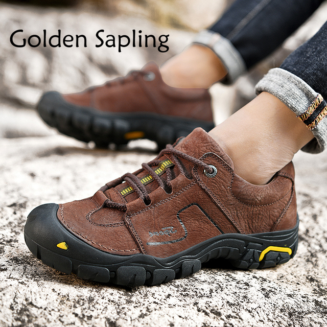 Golden Sapling Hiking Shoes Men Leather Man Sneakers Rubber Mens Sport Shoes Tactical Outdoor Mountain Men's Sneakers Waterproof