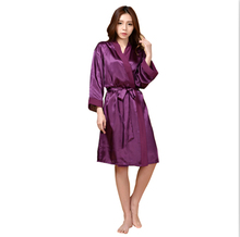 Woman summer Sexy Wedding Dressing Gown Women Short Satin Bride Robe Lace Silk Kimono(China)