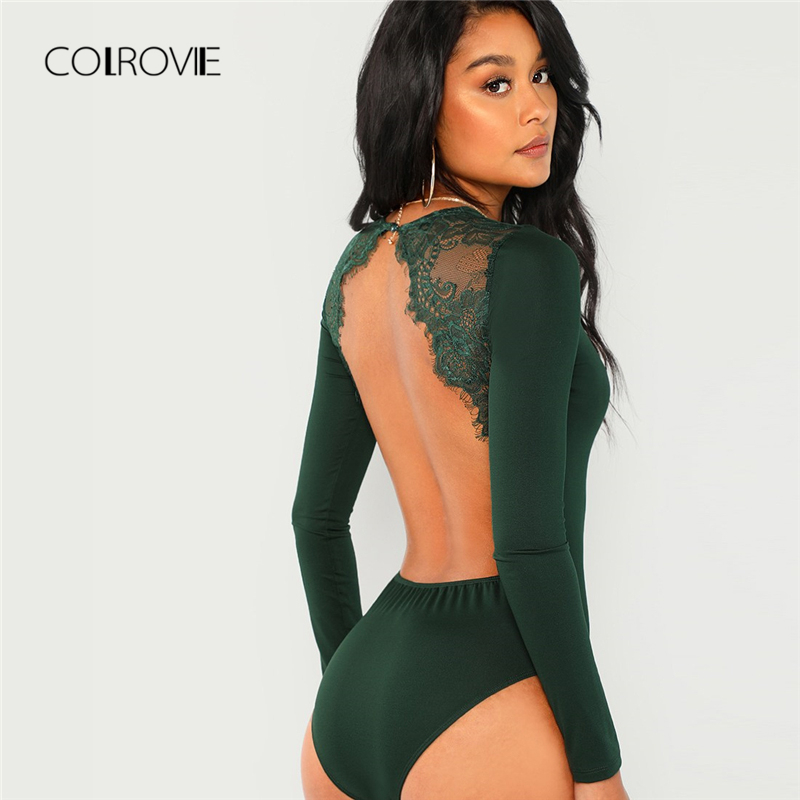 COLROVIE Green Solid Backless Long Sleeve Sexy Lace Bodysuit Women Autumn Elegant Female Office Basic Skinny Bodysuits