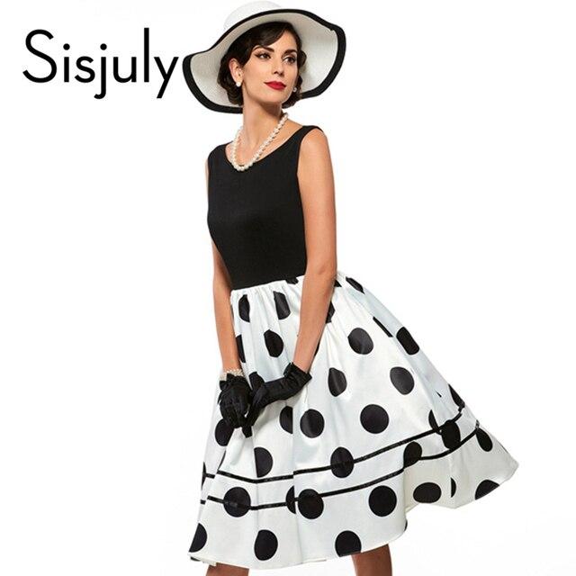 Vestidos parthwork sisjuly do vintage elegante sem mangas a-line na altura do joelho dress color block bolinhas das mulheres da manta do vintage dress