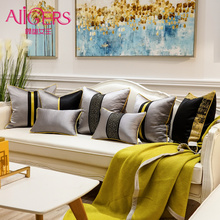 Avigers Luxury Chinese Style Patchwork Cushion Covers Striped Black Grey Home Decorative Pillow Cases for Sofa Living Rooms цены