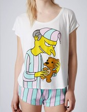 New arrival Modal material sweet candy stripped pajama sets with cute mr burns printed top quality hot selling