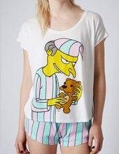 2017 женская pajama наборы с милой мистер бернс печатных пижамы сладкие конфеты цвет лишен Симпсон для дам