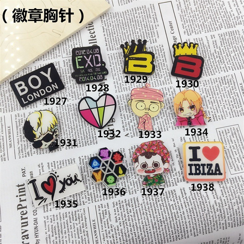 Jewelry Acrylic HARAJUKU Badge cartoon creative costumes Badge Women Men Boys Collar Tips XZ101