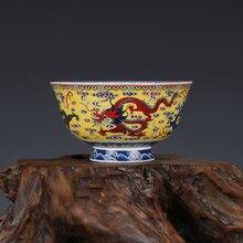 Редкая Античная фарфоровая чаша Qing Dynaty, цветная чаша с драконом, лучшая коллекция и украшение