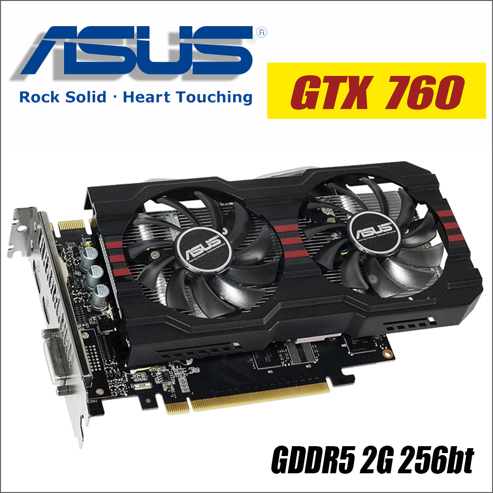 ASUS Video Graphics Card GTX 760 2GB 256Bit GDDR5 Video Cards for nVIDIA VGA Geforce GTX760 HDMI Dvi 1050 1050ti gtx750 gtx 750|Graphics Cards| |  - title=