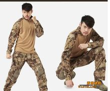 us army military uniform for men with pads Outdoor wear clothesrattle snake shooter US combat uniform shirt and pants M-XXL