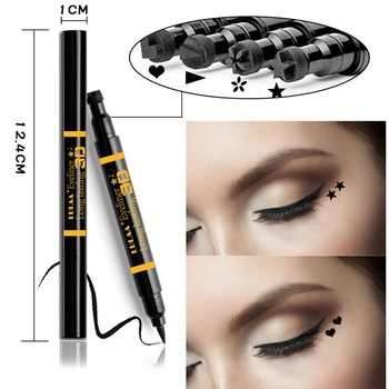 LULAA Trendy 2 In1 Black Liquid Stamp Eye liner Pencil Cat Eye Makeup Double Head Long-lasting Waterproof Stamps Eyeliner TSLM2 Силиконы