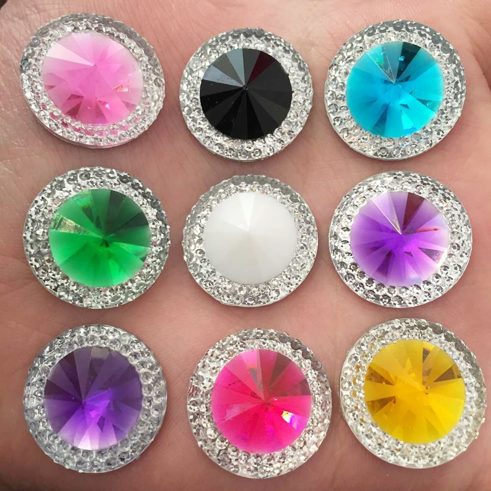 New 100pcs 20mm Resin Double Color Round Rhinestone Flatback Wedding Diy Crafts K19*10