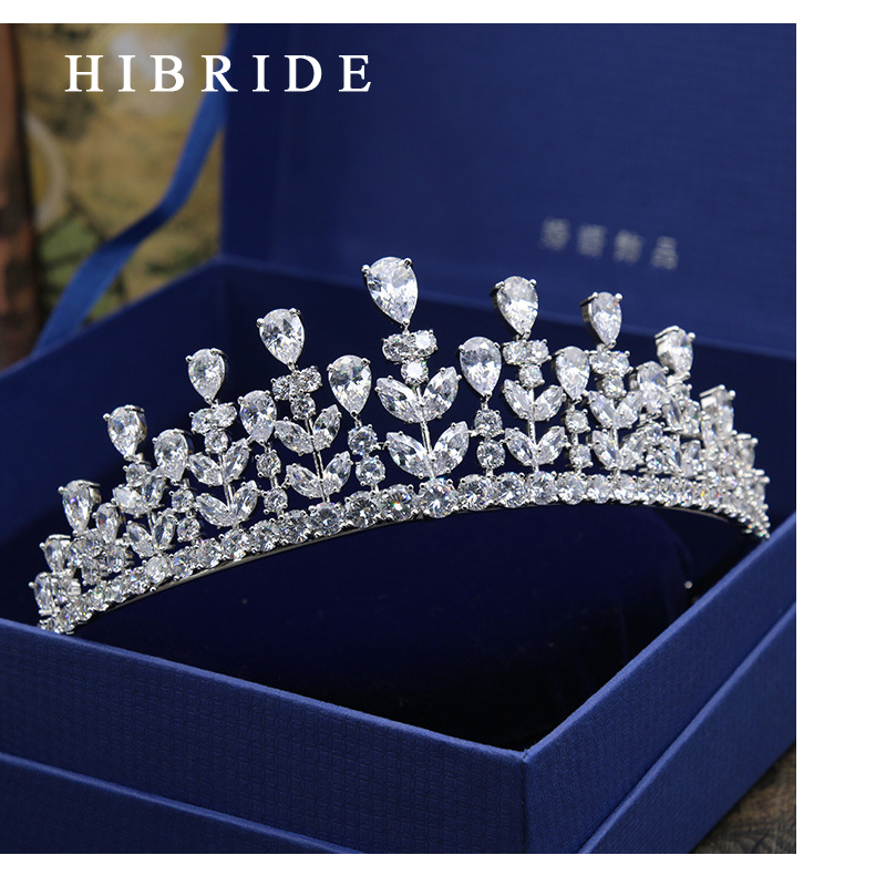 Completo AAA CZ Tiara King Crown Wedding Hair Jewelry Micro Pave Party Headpiece Mujeres Cumpleaños Accesorios nupciales HC0001