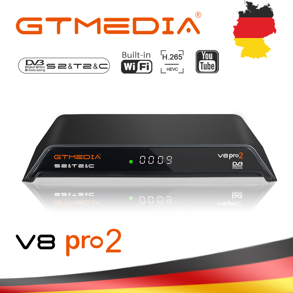 GTmedia V8 Pro2 Decoder DVB-S2/T2Cable DVB-S2X Built-in WiFi H.265 Support IPTV CCCAM PowerVu Biss Key Satellite Receiver TV BOX