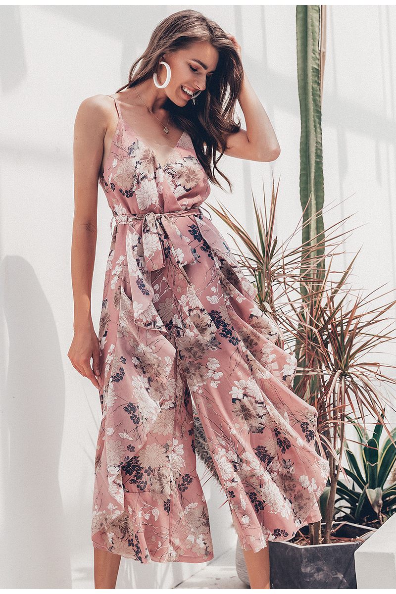 Simplee Bohemian floral print women jumpsuit Sexy v-neck spaghetti strap sashes jumpsuit romper Elegant ruffled female overalls 4