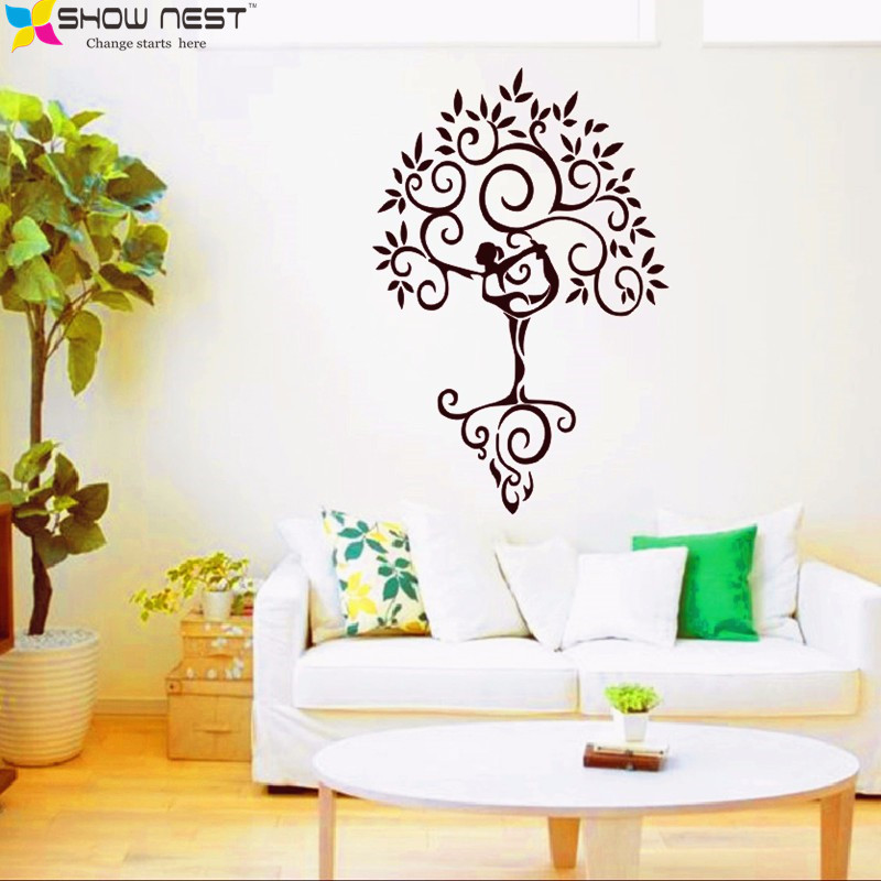 2016 new yoga tree zen big large wall stickers for living figure skating girls wall stickers large wall decals for