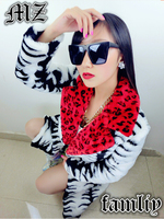 S 3XL ! 2017 NEW ! women's brand fashion stage singer Red black and white leopard long outerwear fur overcoat costumes / S L