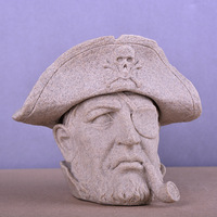 Pirate head statue white sandstone resin crafts people figurines miniatures skull ashtray home decoration sculpture accessories