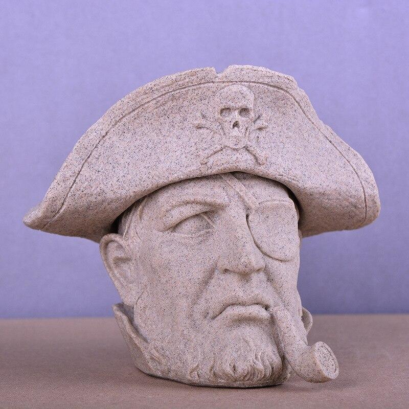 Statue de tête de Pirate résine de grès blanc artisanat personnes figurines miniatures crâne cendrier décoration de la maison sculpture accessoires