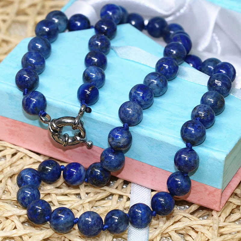 Fashion natural stone blue lapis lazuli beads 6mm 8mm 10mm 12mm 14mm round beads diy necklace elegant gift jewelry 18inch B667