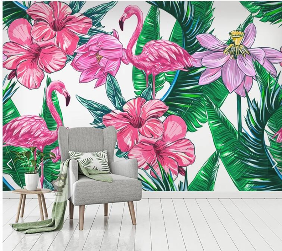 Custom Papel De Parede 3d Floral, Flowers Flamingo Fresco