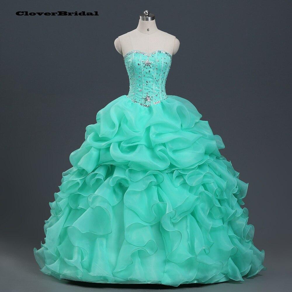 В наличии органзы Раффлед лаймовый зеленый Пышное Платье для 15 лет дешевые маскарадные платья Vestido дебютантка 15 с переливающимися камнями