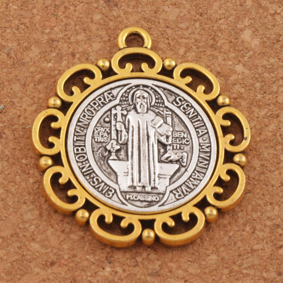 2pcs Flower Saint St Benedict Medal Cross Spacer Charm Beads Two Tone Pendants L1705 37x33mm