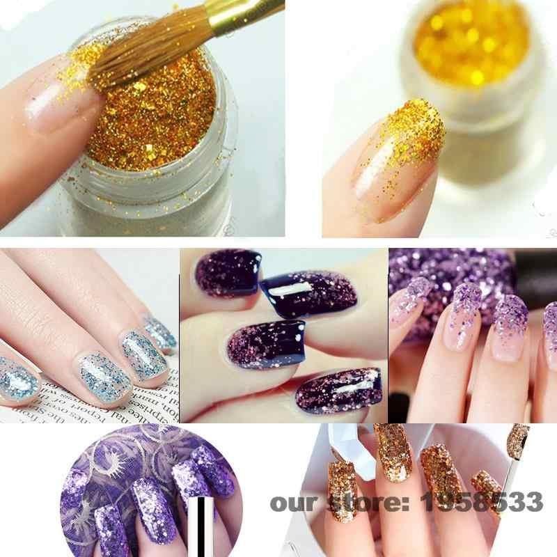 0.2mm Spackly Laser Kleurrijke Gouden Kleur Shining Nail Glitter Dust Poeder voor Nails Art DIY Decoratie Ambachten N47