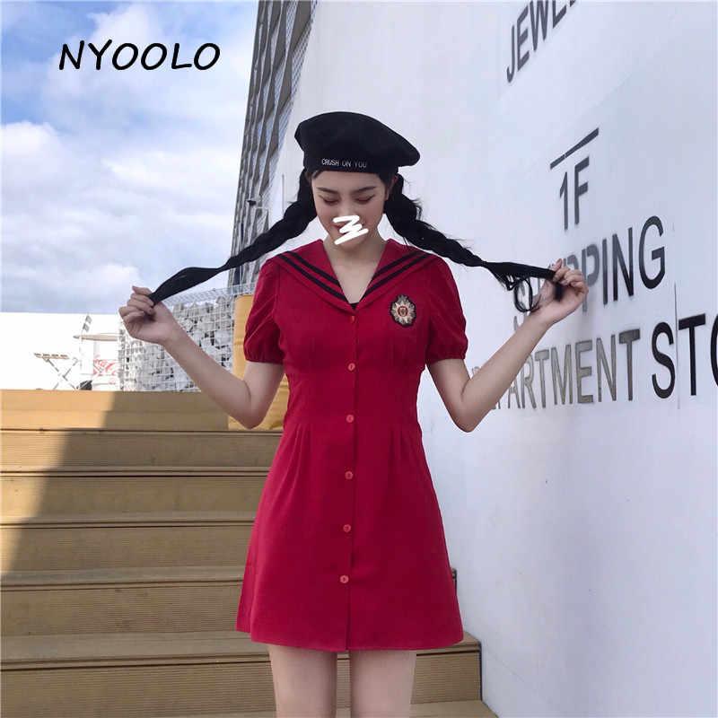 NYOOLO/винтажное платье с матросским воротником для девочек, с высокой талией, однобортное платье, летняя уличная одежда, тонкое короткое платье трапециевидной формы с пышными рукавами для женщин