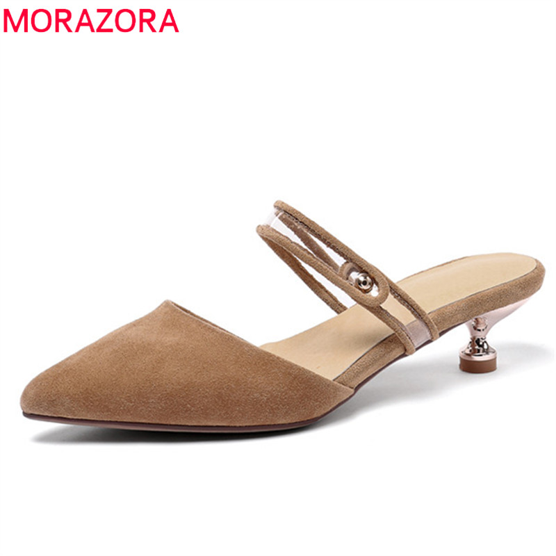 MORAZORA 2019 new arrival women pumps pointed toe suede leather shoes slip on pvc fashion thin heels party wedding shoes woman MORAZORA 2019 new arrival women pumps pointed toe suede leather shoes slip on pvc fashion thin heels party wedding shoes woman
