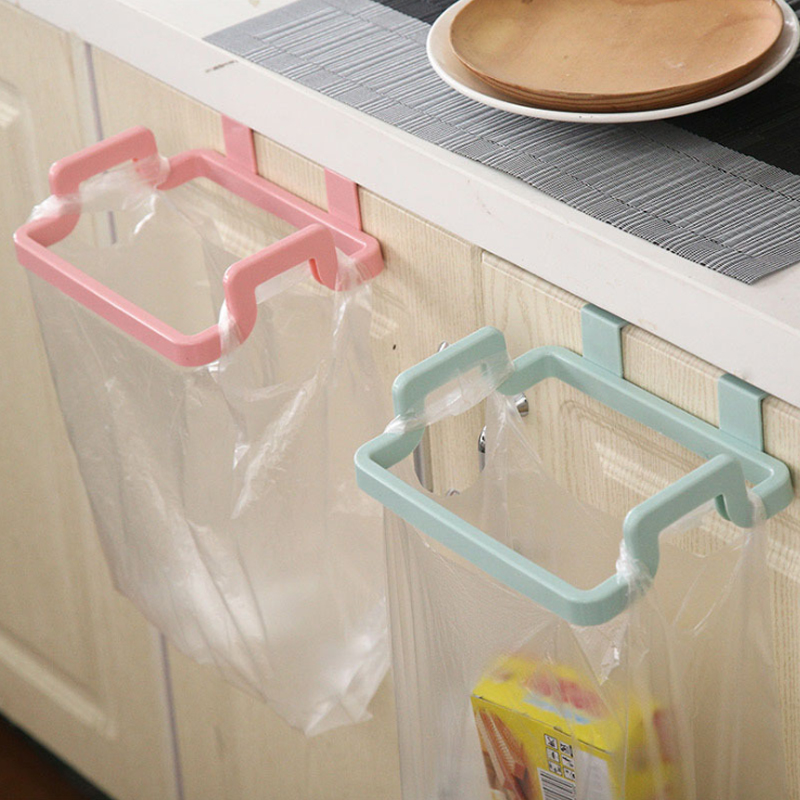 New Eco-friendly Kitchen Door Back Hanging Style Cabinet Stand Trash Garbage Bags Support Holder Door Rag Hanging Rack Trash Can