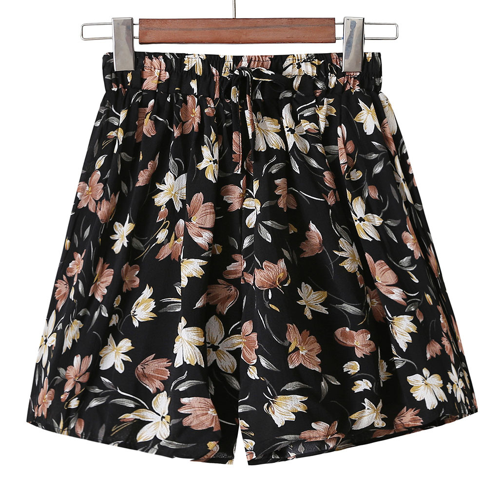 Plus Size High Waist Women Summer Fashion Shorts Summer Women 2019 Women Floral Print Elastic Waist Shorts Ladies Loose Shorts(China)