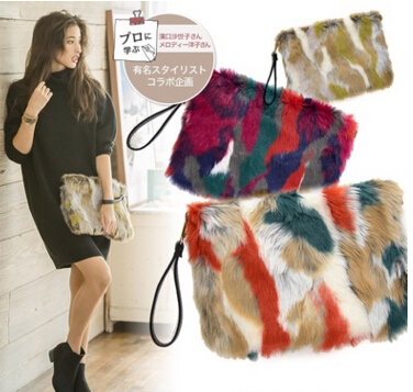 Fur and Fur Package 2016 autumn and winter new pattern of color single  shoulder clutch bag 6112d9b7bebfa