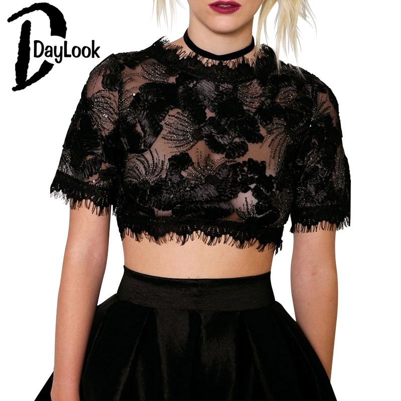DayLook DayLook 2016 Summer Women Sexy See-through Crop Top Black Tasseled Trims Sequins Embroidery Sheer Lace Crop Top poleras de mujer
