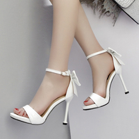 butterfly kont Sandals Woman Buckle high heels Shoes Summer Peep toe Pump fashion hollow Slides black White pink zapatos mujer