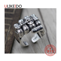 100% Pure 925 Sterling Silver Jewelry Rings Adjust Vintage Mens Signet Ring For Women Special Christmas Gift 944