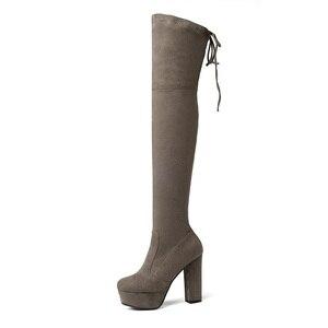 Image 4 - Size 34 43 Nieuwe 2020 Over De Knie Laarzen Vrouwen Faux Suède Dij Hoge Laarzen Platform Stretch Slim Sexy dames Vrouwen Winter Laarzen