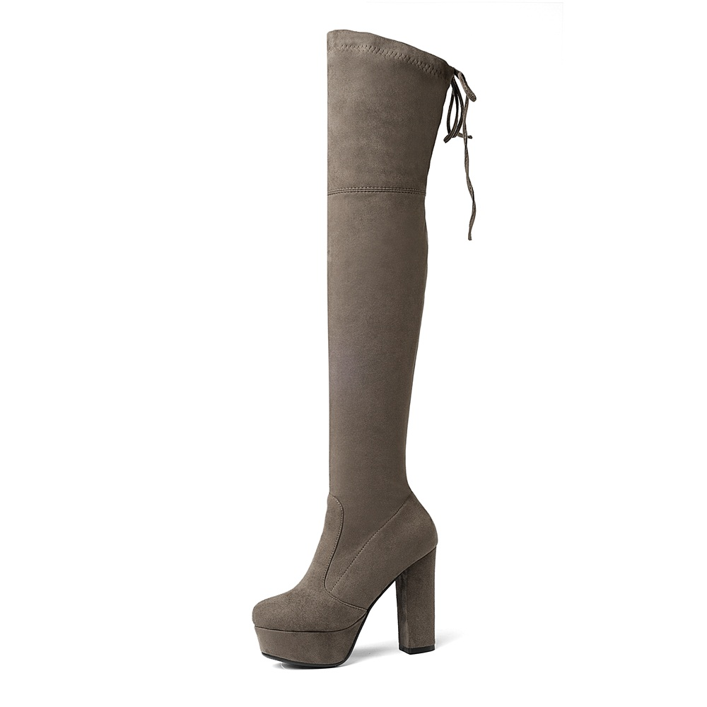 khaki Femmes Noir Sur Faux Genou Sexy Haute light Gray Nouveau Stretch Taille Dames De bleu 2018 Le Bottes D'hiver dark Red Gray Slim forme 43 big 34 Plate Red camel wine orange Cuisse Suede 1zqg8