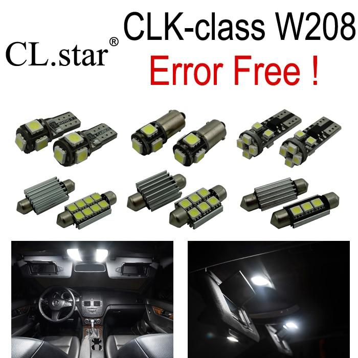 18pcs parking city LED Bulb Interior Light Kit For Mercedes for Mercedes-Benz CLK class W208 CLK320 CLK430 CLK55 AMG (98-02) wireless control rgb color interior under dash floor accent ambient light for mercedes benz clk mb c208 a208 c209 a209 c207 a207