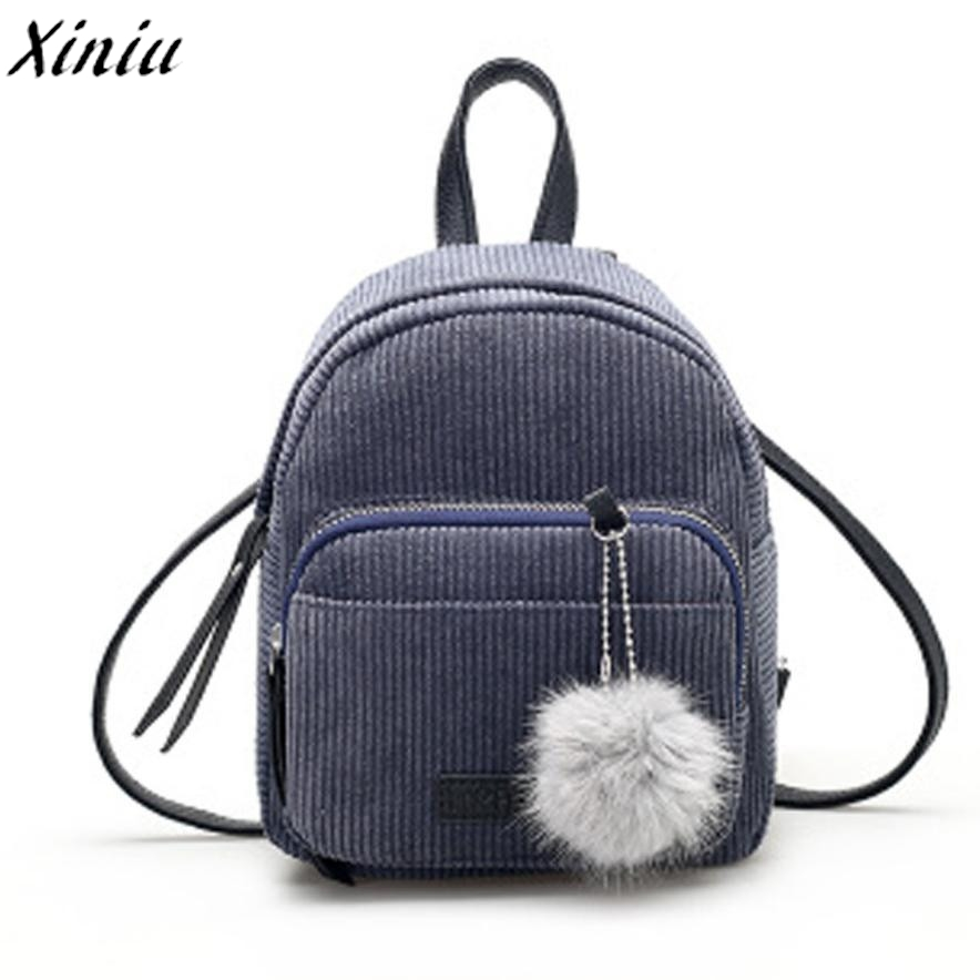 School Bag for Girl Vintage Corduroy Solid Travel Backpacks Striped Pompon Cute Shoulder Bag