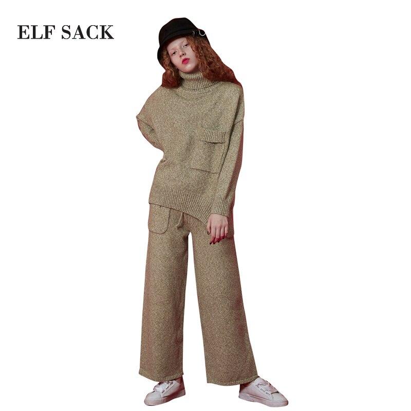 SACCO ELF Inverno Lavorata a maglia Set Pantaloni Gamba Larga Collo Alto Del Maglione Set Allentato Casuale Delle Donne Vestiti