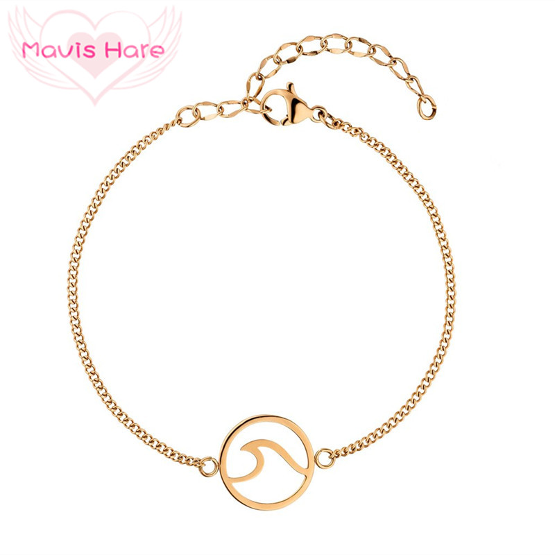 Mavis Hare Stainless Steel Wave Bracelet Chain Bracelet Bangle with 5cm extension chain Mixed Silver/Gold/Rose Gold Color