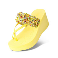 Female beach slippers wedges sandals female sandals high platform flip platform shoes free shipping