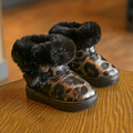 Size26-35 Girls leopard boots New Children Ankle Snow Boots toddler Boys Girls Boots Thick Warm Plush Waterproof Kids Shoes
