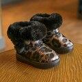 Size26-35 Девочек леопарда сапоги Новых Детей Лодыжки Снег Сапоги малышей Мальчики Девочки Сапоги Толстые Теплые Плюшевые Водонепроницаемый Детская Обувь