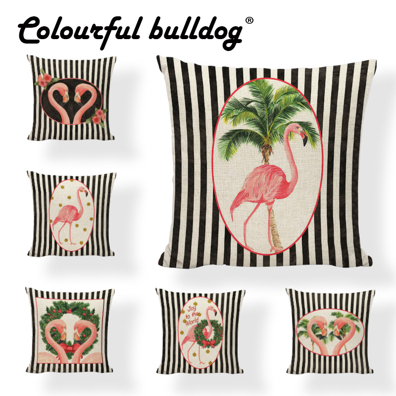 Wreaths Striped Rectangle Flamingo Pattern Letter Decorate 17*17In Pillow Case Home Couc ...