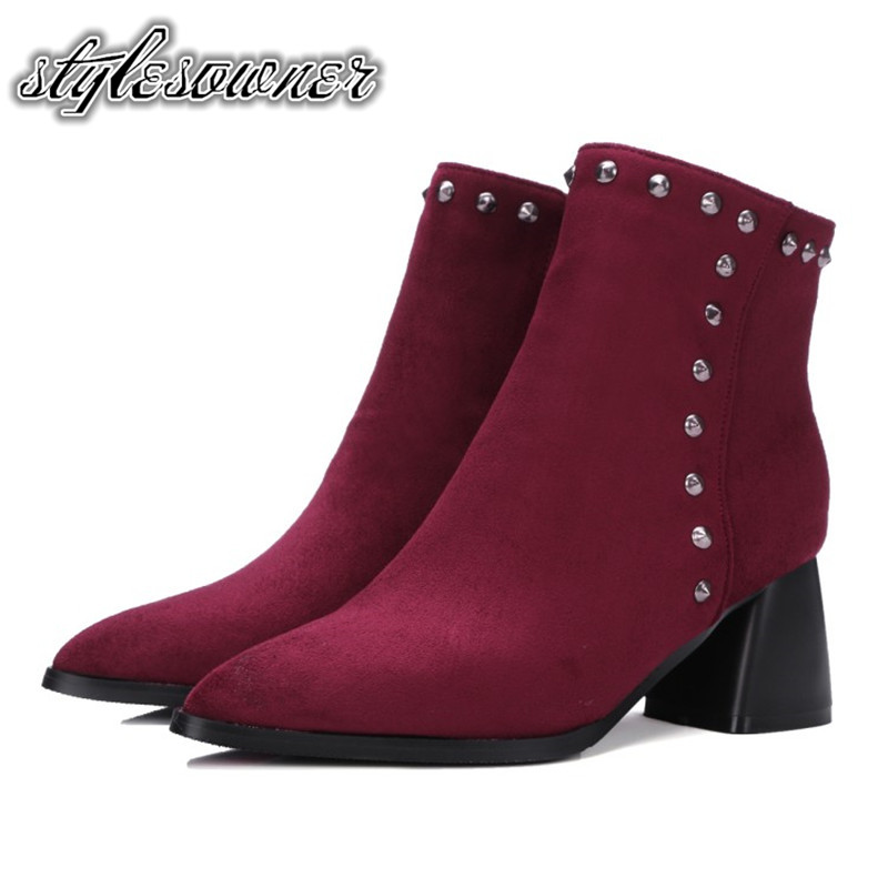 Stylesowner England Style All-match Trend Black and Red Ankle Boots Rivet Side Zipper High Heels Mature Pointed Toe Fashion Boot irst layer of cowhide handsome female ankle boots fashion boots pull style all match elegant 6 8 5