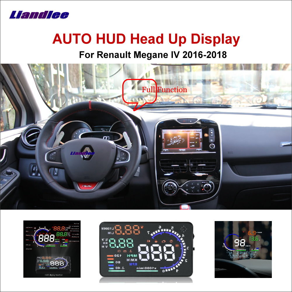 Liandlee Full Function HUD Car Head Up Display For Renault Megane 2 2011-2018 Safe Driving Screen OBD Data Projector Windshield