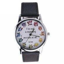2016Women Brand girl Leather printing Analog Quartz Vogue Fashion neutral table Wrist Watch creative design Christmas Gift Watch