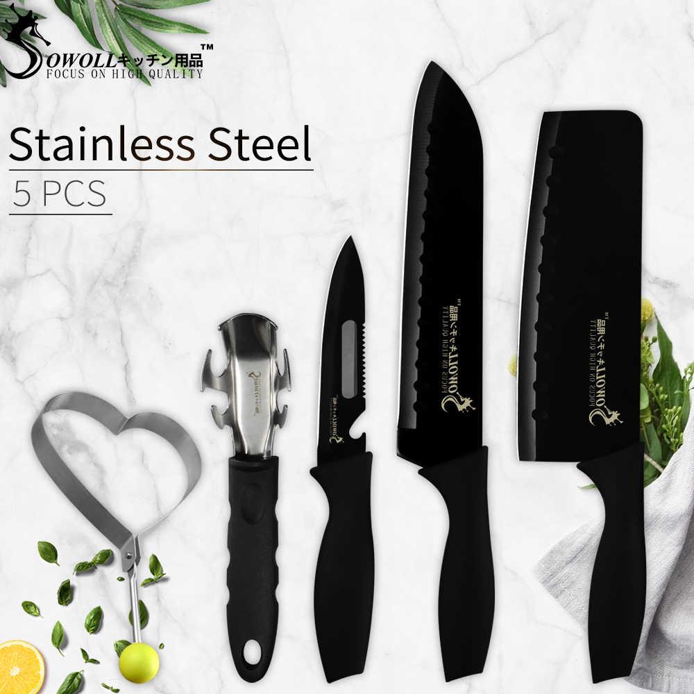 Sowoll нержавеющая сталь разделочный Nakiri Santoku Многофункциональный кухонный нож